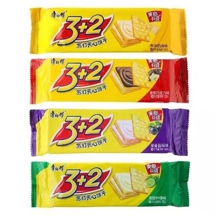 图片 Master Kong 3+2 Sandwich Biscuit Soda,flavor(Creamy, blueberry, vanilla and chocolate, lemon) 125g,1 pack, 1*24 pack | 康师傅3+2夹心饼干苏打(奶油味,蓝莓味,香草巧克力味,柠檬味)125g,1包,1*24包
