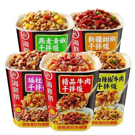 图片 海底捞拌饭(白辣椒牛肉拌饭,瑶柱香菇拌饭,精品牛肉拌饭,燕麦青椒拌饭)142g,1桶,1*12桶