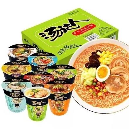图片 Tangdaren Cup Noodles (Japanese-style tonkotsu ramen, hot and sour tonkotsu ramen, seafood ramen, borscht noodles, spicy beef noodles),1 cup, 1*12 cup|汤达人杯面(日式豚骨拉面,酸辣豚骨拉面,海鲜拉面,罗宋汤面,辣牛肉汤面)82g-90g,1杯,1*12杯