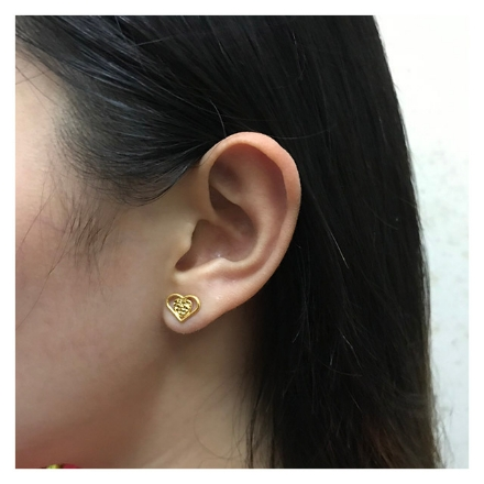 Picture of 18K - Saudi Gold Jewelry Two Hearts Earrings